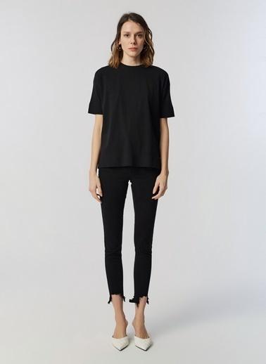 Monamoda Eteği Press Baskılı Bluz Siyah